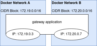diagram of a docker gateway container spanning two networks